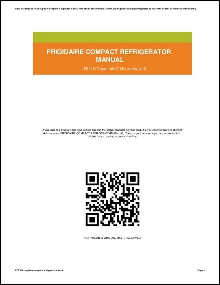 Frigidaire Gallery Refrigerator Manual Pdf