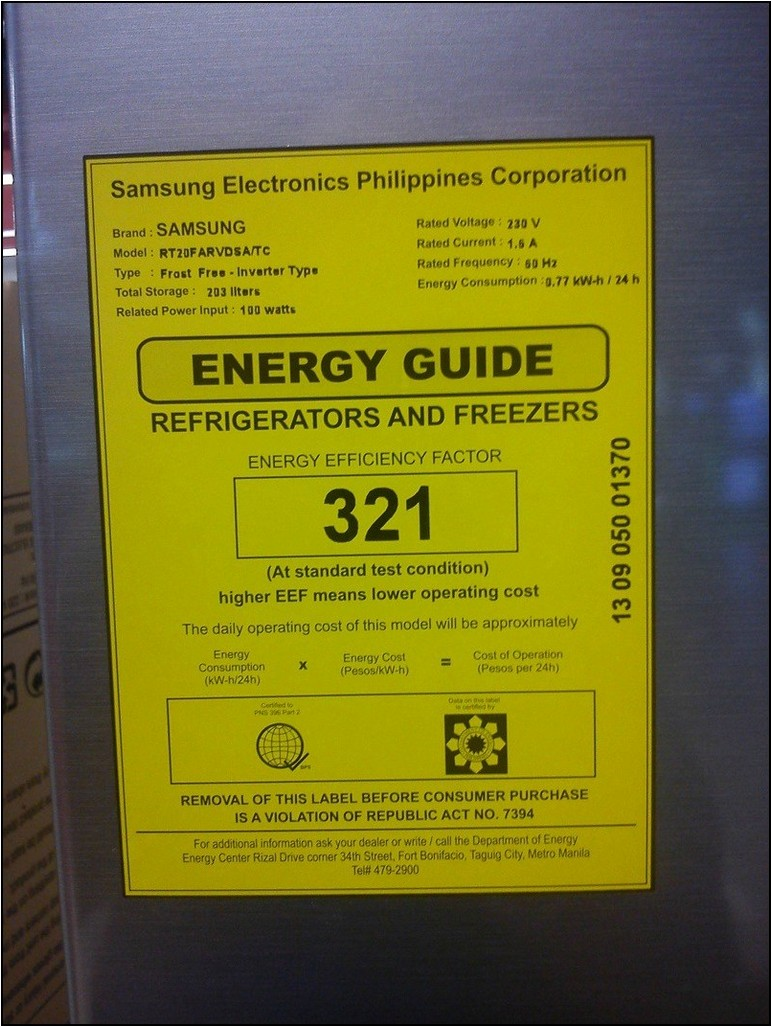 How Many Watts Is A Samsung Refrigerator