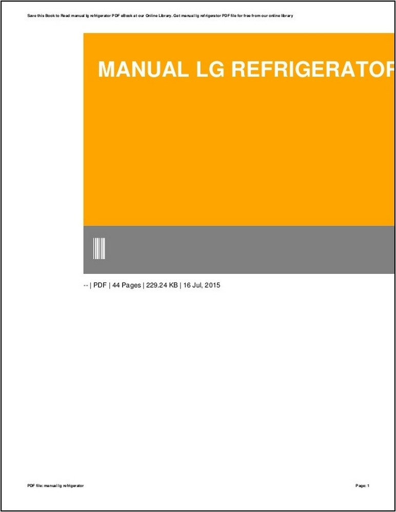 Lg Refrigerator Manual Book