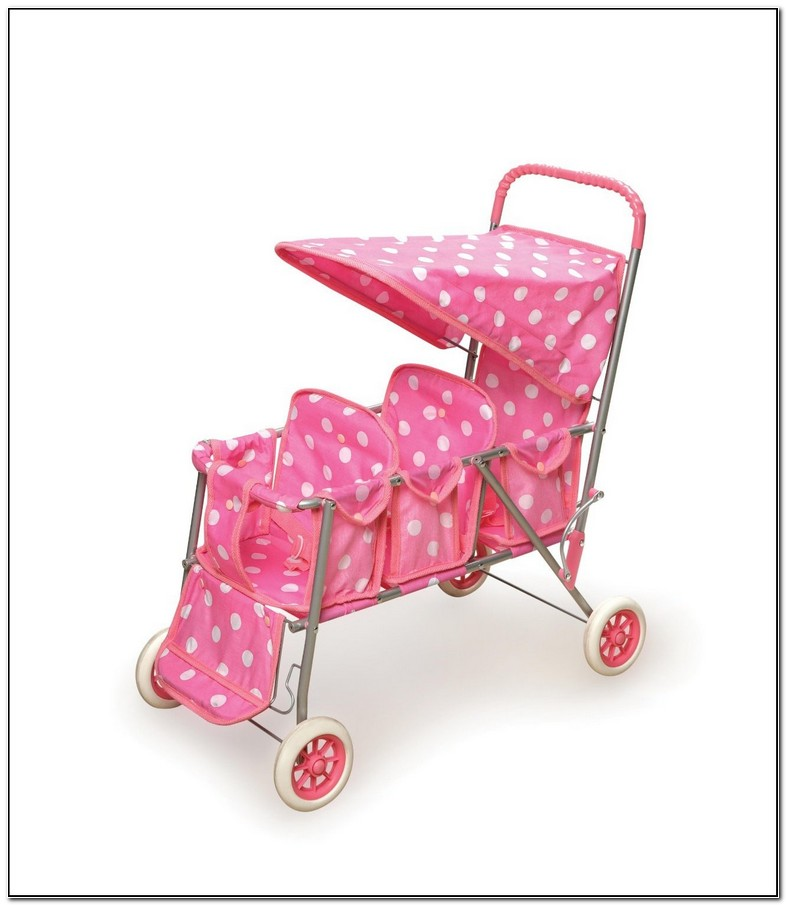 Pink Baby Doll Double Stroller