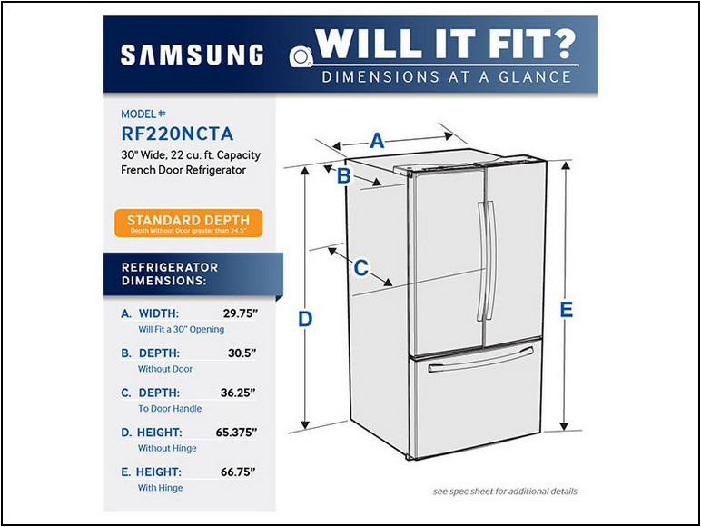 Standard Refrigerator Sizes Dimensions