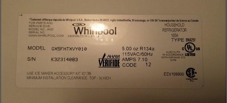 Whirlpool Refrigerator Amps