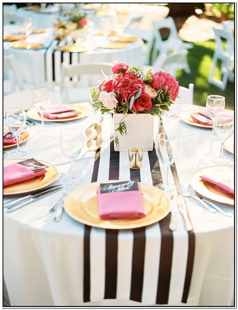 Black And White Striped Table Runners Wholesale