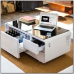 Coffee Table With Fridge Bluetooth Speakers Led Lights And Charging Ports
