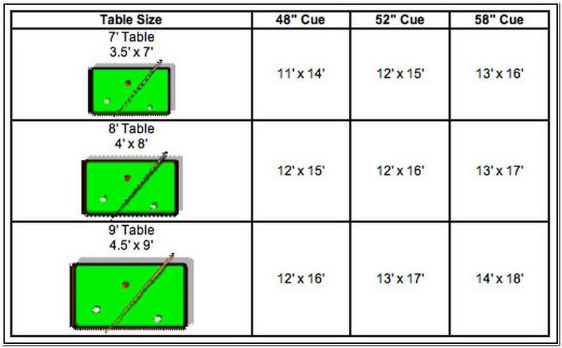Standard Regulation Pool Table Size