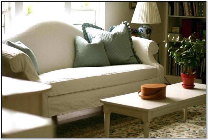 White Camelback Sofa Slipcover