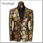 Black And Gold Floral Suit Jacket