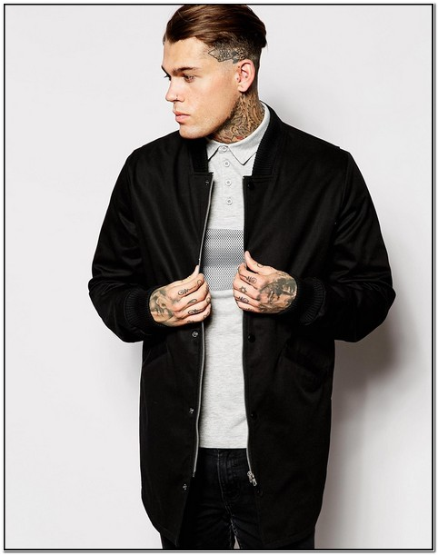 Black Longline Bomber Jacket Mens