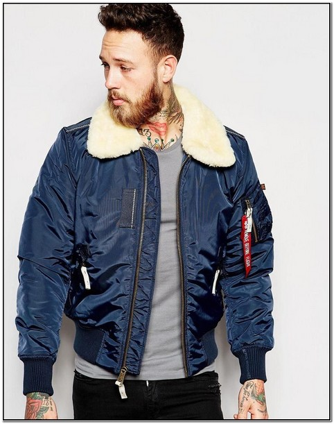 Blue Bomber Jacket With Fur Collar Mens