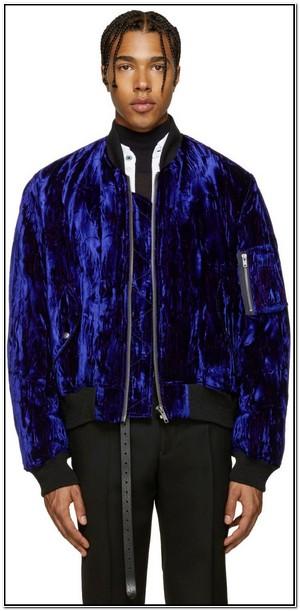 Blue Velvet Bomber Jacket Mens