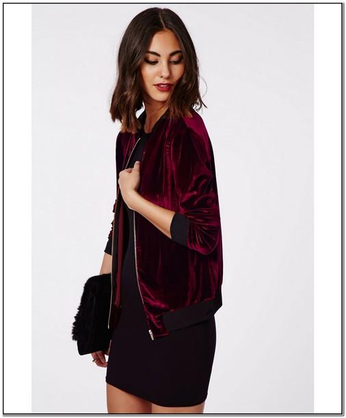 Burgundy Velvet Bomber Jacket Womens