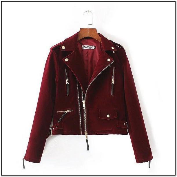 Burgundy Womens Short Zipper Leather Jacket