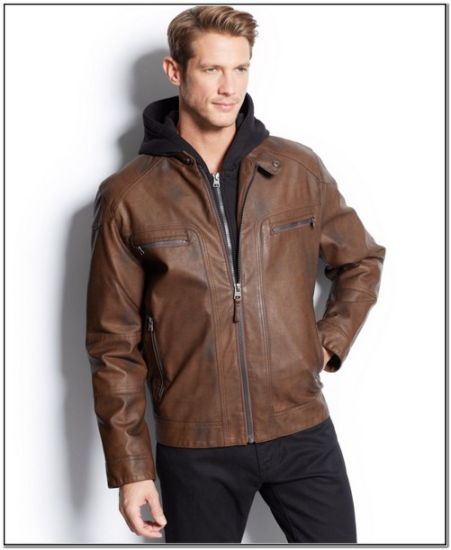 Calvin Klein Mens Leather Jacket With Hood
