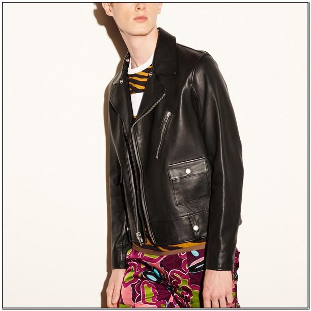 Coach Mens Leather Moto Jacket