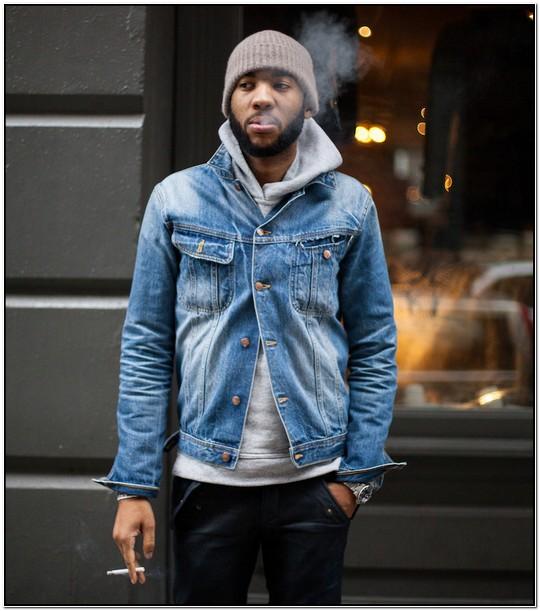 Denim Jacket Hoodie Combo Mens