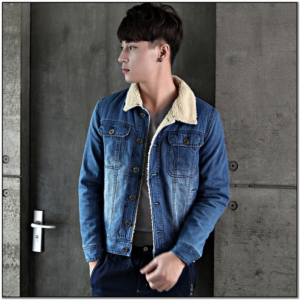 Denim Jacket With White Fur Collar Mens