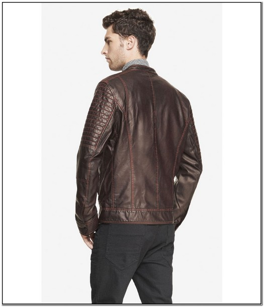 Express Mens Brown Leather Jacket