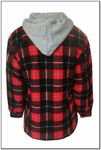 Fleece Lined Flannel Jacket With Hood