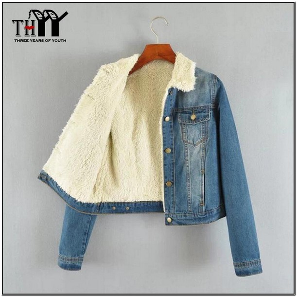 Fur Lined Jean Jacket Womens