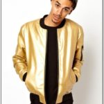 Gold Bomber Jacket Mens