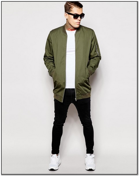 Green Longline Bomber Jacket Mens