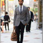 Grey Suit Jacket Black Pants Brown Shoes