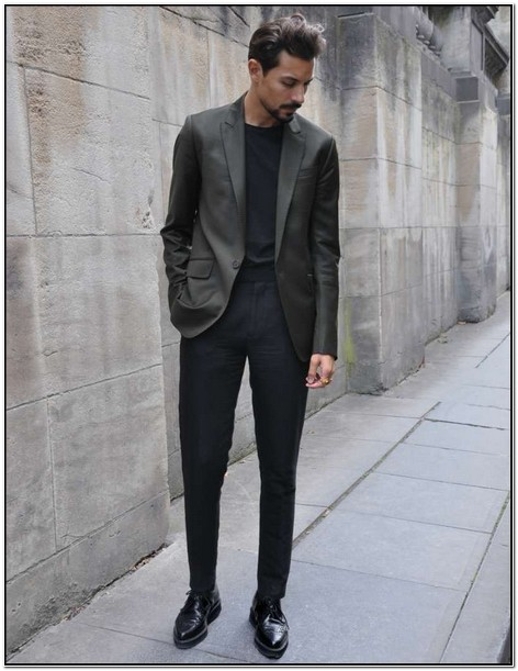 Grey Suit Jacket Black Pants