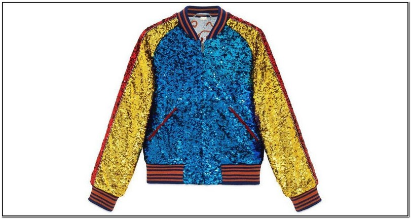 Gucci Mens Blue Sequin Bomber Jacket