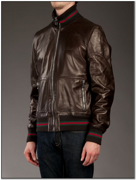 Gucci Mens Brown Leather Jacket
