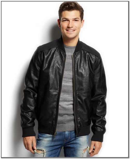 Guess Faux Leather Jacket Mens