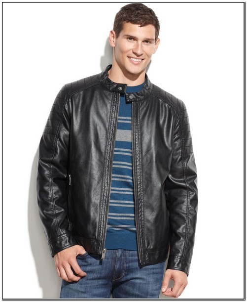 Guess Mens Faux Leather Motorcycle Jacket