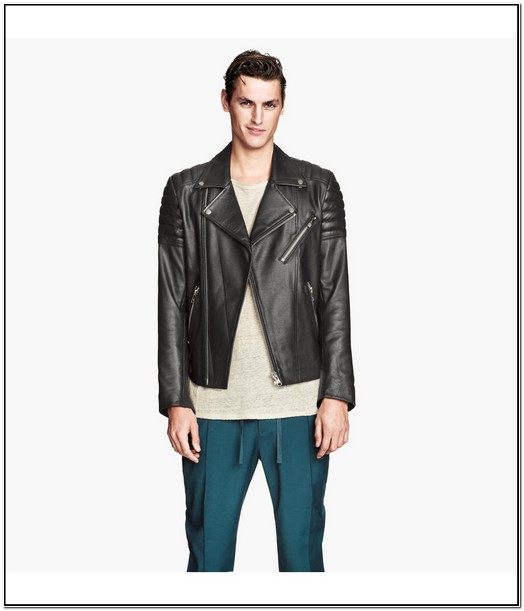 H&m Mens Leather Biker Jacket