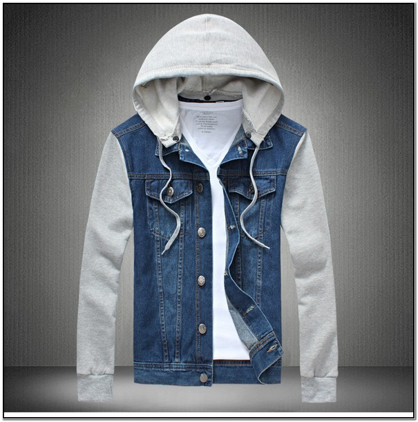 Jean Jacket With Hoodie Sleeves Mens