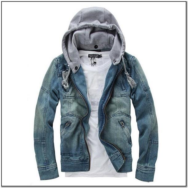 Jeans Jacket Hoodie Mens