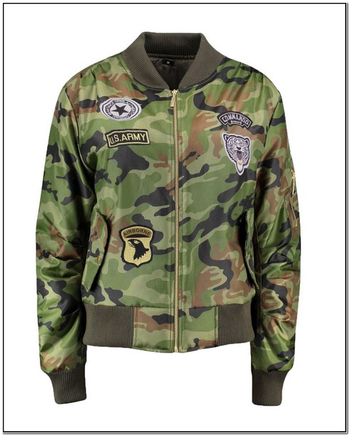 Ladies Camo Jacket With Patches
