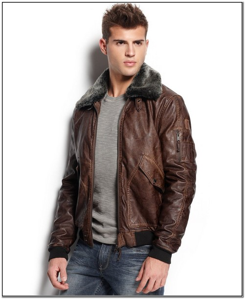Macys Mens Guess Leather Jacket