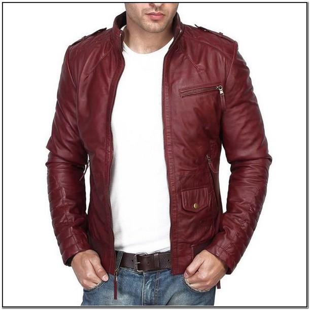 Maroon Leather Jacket Mens India