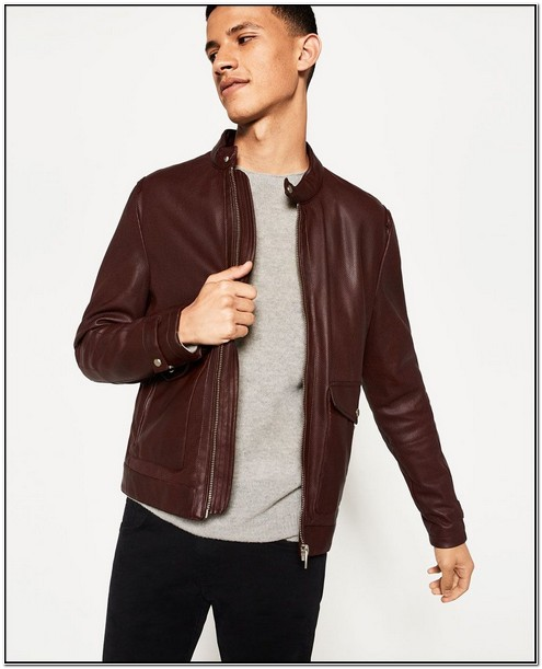 Maroon Leather Jacket Mens Zara