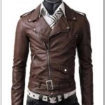 Mens Asymmetrical Brown Leather Jacket