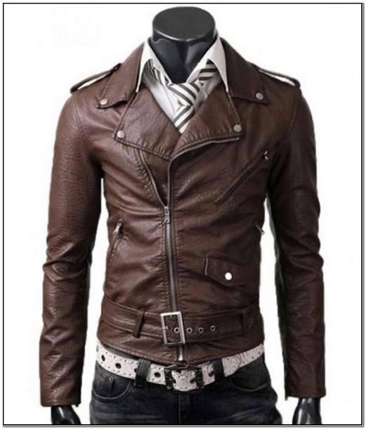 Mens Asymmetrical Brown Leather Jacket