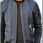 Mens Black Bomber Jacket Gold Zip