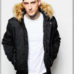 Mens Black Bomber Jacket With Fur Hood