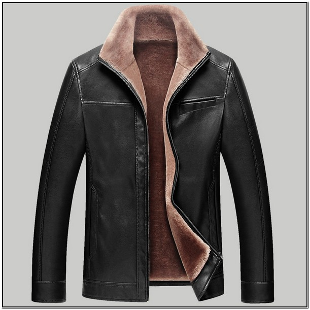 Mens Black Fur Lined Leather Jacket