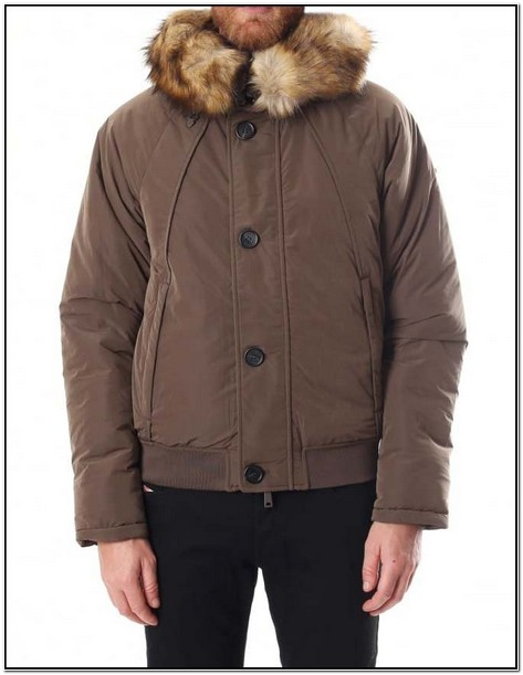 Mens Bomber Jacket With Fur Hood