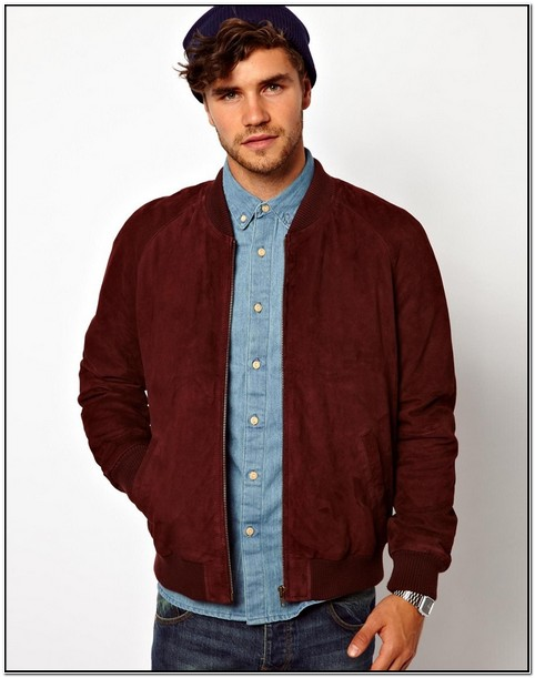 Mens Burgundy Suede Bomber Jacket