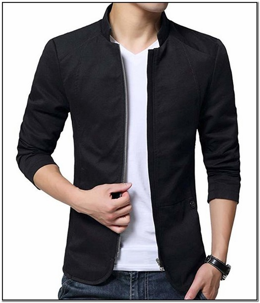 Mens Cotton Lightweight Slim Fit Jacket Casual Wear