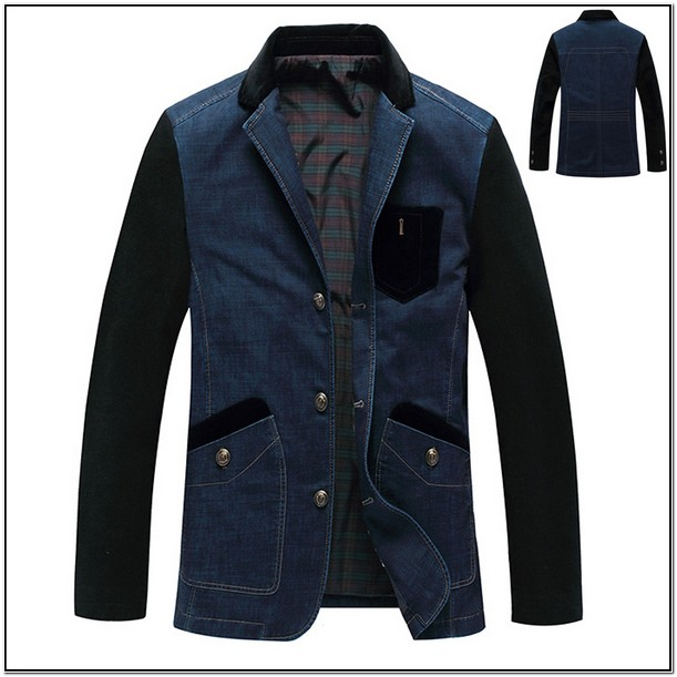 Mens Denim Jacket With Elbow Patches