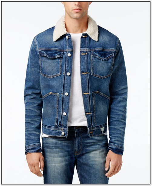 Mens Denim Jacket With Faux Fur Collar