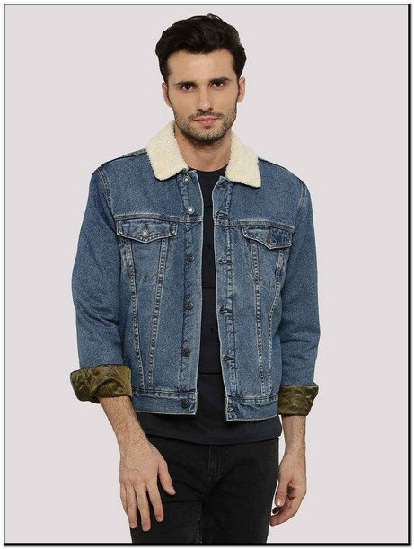 Mens Denim Jacket With Fur Collar New Look