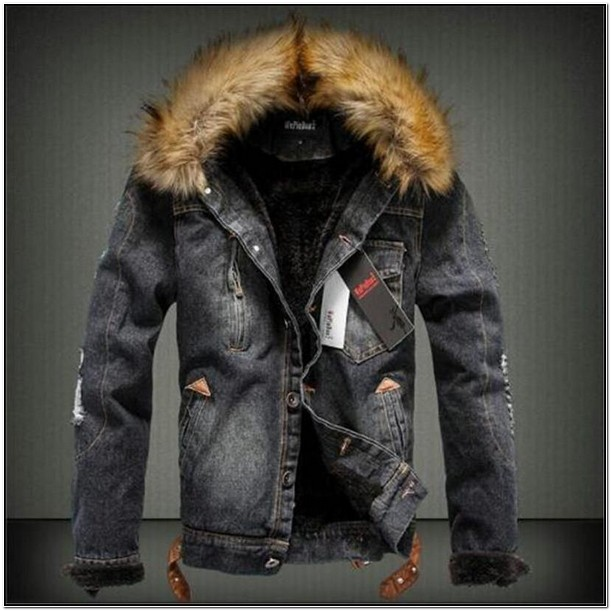 Mens Denim Jacket With Fur Collar Sale